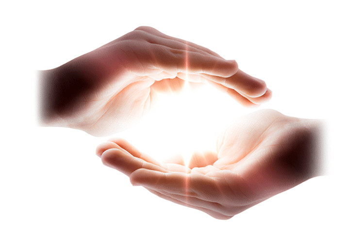 Two hands surrounding a bright light